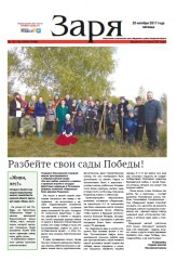 Выпуск газеты «Заря» № 121-123  от 20 октября 2017 года